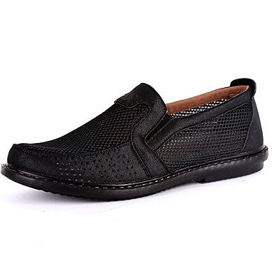 Men's Shoes Tulle Spring Comfort Loafers & Slip-Ons for Casual Black Gray Camel
