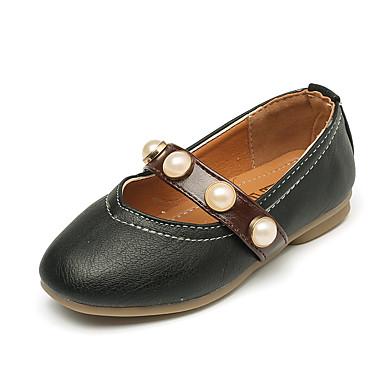 Tyttöjen kengät Nahka PU Kesä Syksy Comfort Kengät kukkaistytölle Tasapohjakengät Tekohelmillä Käyttötarkoitus Puku Valkoinen Musta Pinkki