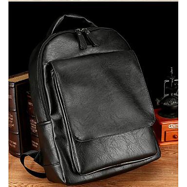 Men Bags All Seasons PU Backpack for Casual Brown Black