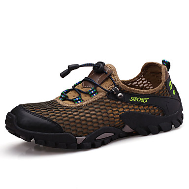 Homens sapatos Couro Ecológico Primavera Outono Solados com Luzes Conforto Tênis Aventura Cadarço para Atlético Cinzento Azul Khaki