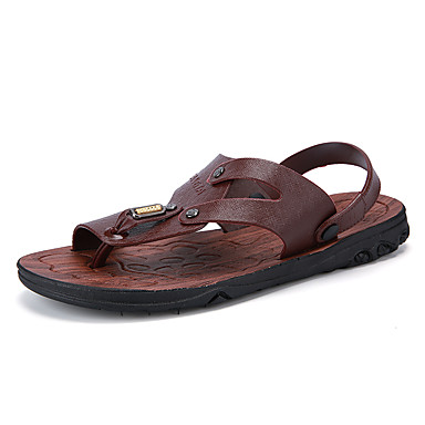 Men's Shoes Synthetic Microfiber PU Summer Fall Comfort Sandals Button Split Joint For Casual Brown Dark Brown