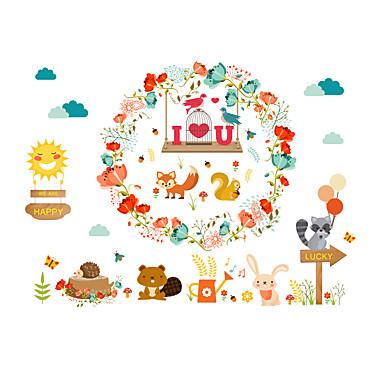 Eläimet Kukkakuvio/Kasvitiede Muoti Wall Tarrat Lentokone-seinätarrat Koriste-seinätarrat,Paperi materiaali Kodinsisustus Seinätarra