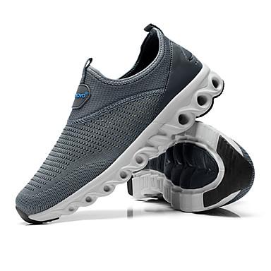 Mulheres Sapatos Couro Ecológico Primavera Outono Conforto Tênis Sem Salto para Ao ar livre Preto Cinzento