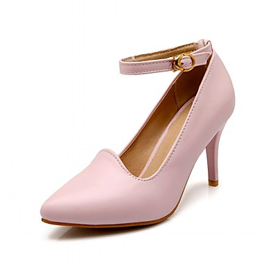 Women's Shoes PU Spring Fall Comfort Novelty Heels Walking Shoes Stiletto Heel Pointed Toe Buckle For Casual Dress Outdoor Black Beige