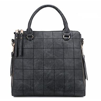 Women Shoulder Bag PU All Seasons Casual Outdoor Square Zipper Black Red Gray