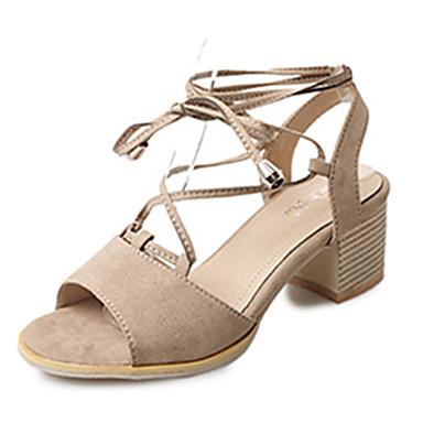 Mujer Zapatos Ante / PU Verano Talón Descubierto Sandalias Media plataforma Negro / Beige / Almendra 3a4wH2O