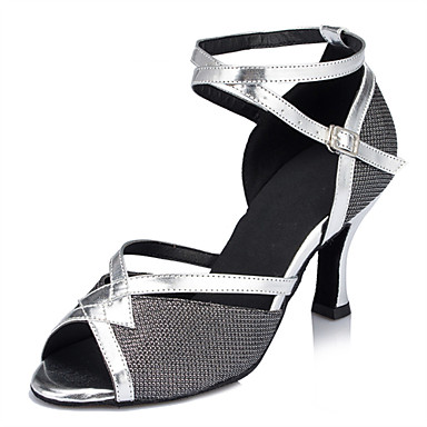 Women's Latin Shoes Glitter Sandal Criss-Cross Stiletto Heel Customizable Dance Shoes Silver / Black / Performance / Leather