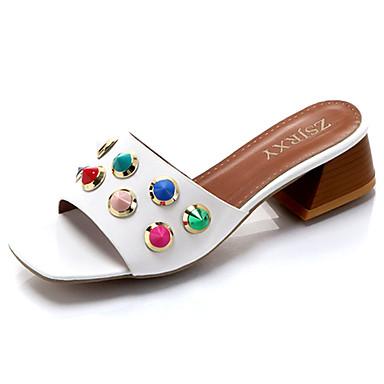 Mulheres Sapatos Couro Ecológico Verão Conforto Solados com Luzes Chinelos e flip-flops Salto Robusto Dedo Aberto Tachas para Social