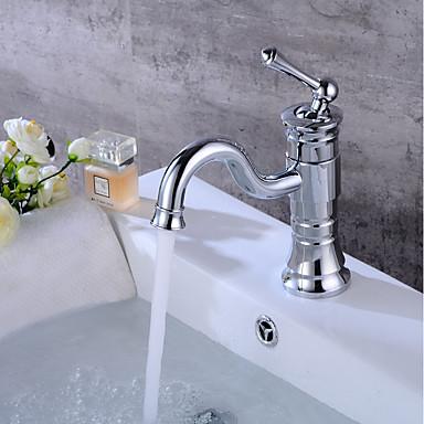 Centerset Ceramic Valve One Hole Chrome , Bathroom Sink Faucet