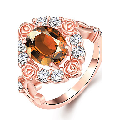 Women's Cubic Zirconia Geometric Ring - Zircon, Copper, Rhinestone Drop, Friends, Heart Personalized, Luxury, Geometric 8 Rose Gold For Christmas / Christmas Gifts / Party / Rose Gold Plated / Alloy