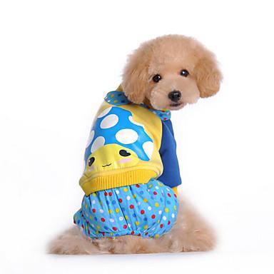 Cachorro Macacão Roupas para Cães Desenho Animado Fúcsia Azul Flanela Algodão Plumagem Ocasiões Especiais Para animais de estimação