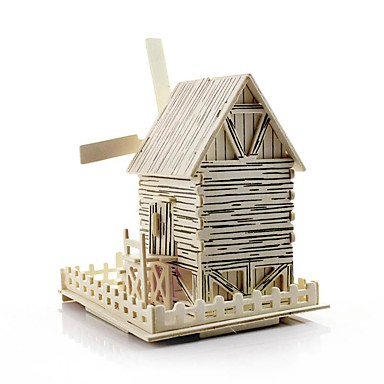 voordelige 3D-puzzels-Speelgoedauto's 3D-puzzels Windmolen Windmolen Beroemd gebouw Huis DHZ Puinen Klassiek Kinderen Unisex Jongens Speeltjes Geschenk