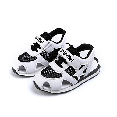 Boys' Sandals Comfort Light Soles Spring Summer Tulle Walking Shoes Casual Outdoor Magic Tape Flat Heel Black Blue Flat