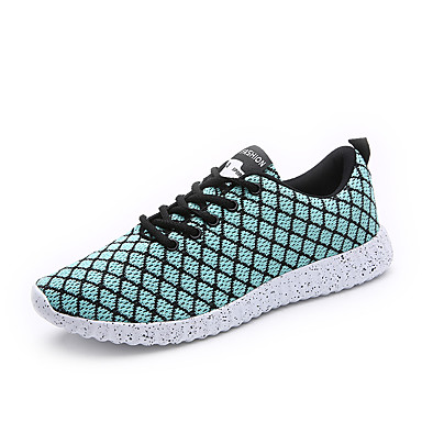 Men's Shoes Knit Spring Fall Comfort Sneakers Lace-up for Athletic Casual Outdoor Black Black/White Light Green