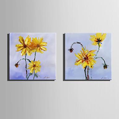 Pintura a Óleo Pintados à mão - Floral / Botânico Retro Tela de pintura