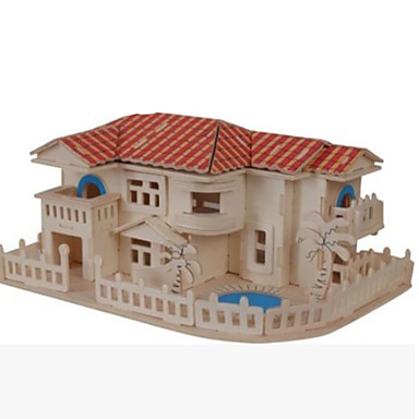 3D Puzzle Jigsaw Puzzle Wooden Puzzle Wood Model Model Building Kit Famous buildings House Other DIY Wood Natural Wood Classic Kid's