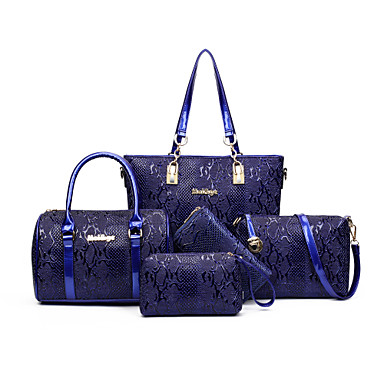 Women Bags All Seasons PU Bag Set 5 Pieces Purse Set for Casual Blue Black Red Brown