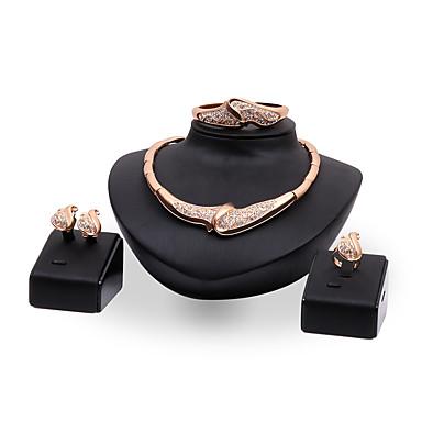 Mulheres Conjunto de Jóias Gema Strass Chapeado Dourado Liga Outros Personalizada Luxo Vintage Bijuterias Destaque Euramerican Fashion