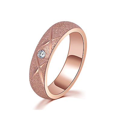 Women's AAA Cubic Zirconia Ring - Rose Gold Simple Style, Elegant 5 / 6 / 7 Rose Gold For Wedding / Anniversary / Party Evening / Engagement