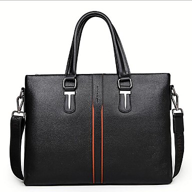 Men Bags All Seasons Cowhide Briefcase for Casual Outdoor Black