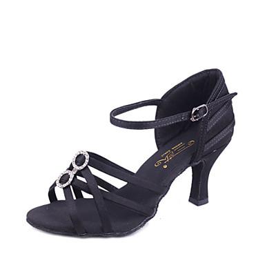 Women's Latin Shoes Silk Sandal Flared Heel Non Customizable Dance Shoes Black / Beige / Brown / Indoor