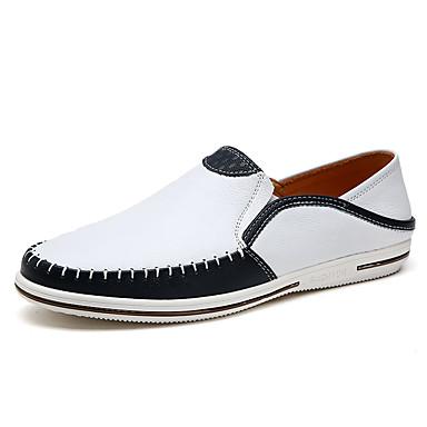 Męskie Komfortowe buty Skóra / Sztuczna skóra Wiosna / Lato Mokasyny i buty wsuwane Biały / Czarny / Ciemnoniebieski
