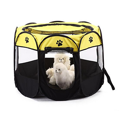 Dog Bed Pet Baskets Color Block Footprint/Paw Waterproof Foldable Breathable washable Yellow Red For Pets