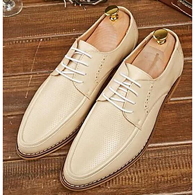 Herre bryllup sko Komfort Lær Vår Høst Bryllup Avslappet Komfort Hvit Lysegul Blå Flat