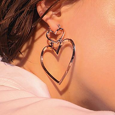 Mulheres Coração Brincos Compridos - Euramerican Fashion Dourado Prata Ouro Rose Coração Brincos Para Diário Casual