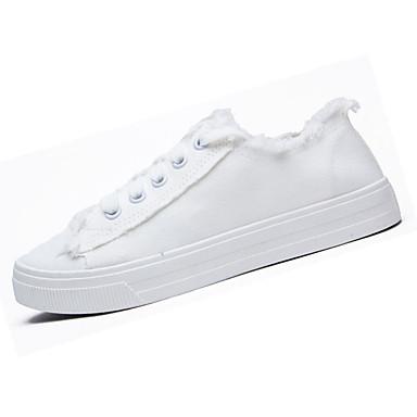Mulheres Sapatos Couro Ecológico Primavera Outono Conforto Tênis Sem Salto para Ao ar livre Branco Preto