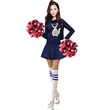 Cheerleader Costumes Outfits Women's Performance Polyester Appliques 2 Pieces Long Sleeve High Skirts Tops