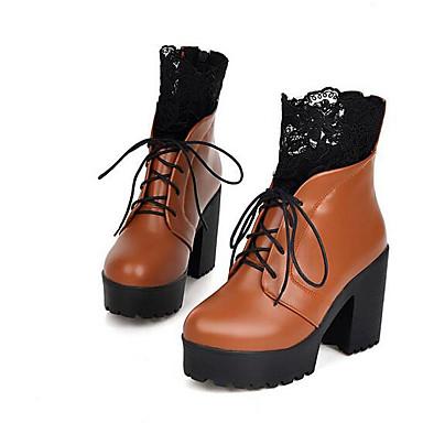 Naiset Kengät PU Talvi Comfort Muotisaappaat Bootsit Käyttötarkoitus Kausaliteetti Musta Ruskea Burgundi