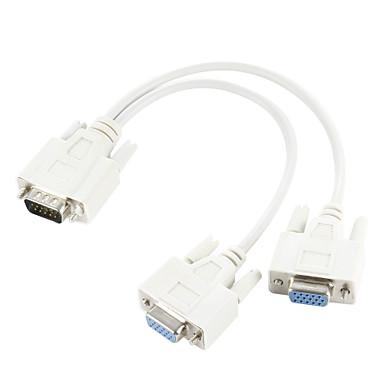 vga SVGA 15-pin hann til dobbel 2 kvinnelige monitor adapter y splitter kabel ledningen