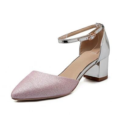 Mulheres Sapatos Couro Ecológico Courino Verão Outono Inovador Conforto Saltos Caminhada Salto Robusto Dedo Apontado Presilha para Festas