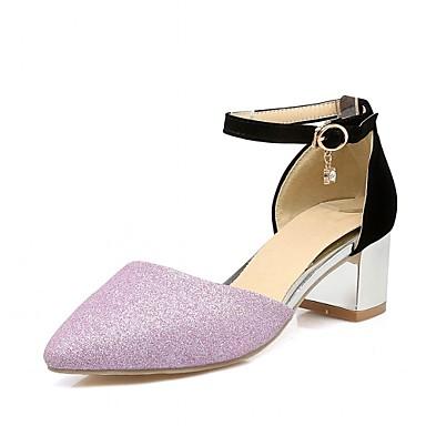 Mulheres Sapatos Courino / Couro Ecológico Verão / Outono Conforto / Inovador Saltos Caminhada Salto Robusto Dedo Apontado Pedrarias