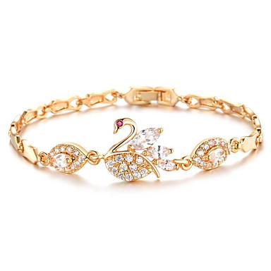Női Kocka cirkónia Lánc & láncszem karkötők - Arannyal bevont Vintage, Divat Karkötők Arany Kompatibilitás Esküvő / Évforduló / Party / estély / Eljegyzés