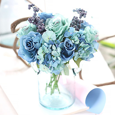 11inch Large Size 8 Heads Silk Polyester Roses Tabletop Flower Artificial Flowers