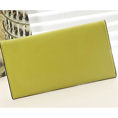 Women Checkbook Wallet Cowhide All Seasons Casual Rectangle Magnetic Yellow Fuchsia Ruby