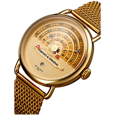 cheap Women's Watches-Men's Wrist Watch Gold Watch Japanese Stainless Steel Black / Brown / Gold 30 m Water Resistant / Waterproof Calendar / date / day Creative Analog Charm Luxury Classic Vintage Casual - Black / White