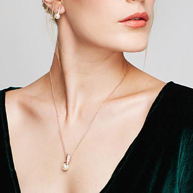 Femme Set de Bijoux Boucles d'oreille goujon Pendentif de collier Diamant synthétique Perle Perle Imitation de perle Strass Plaqué Or Rose