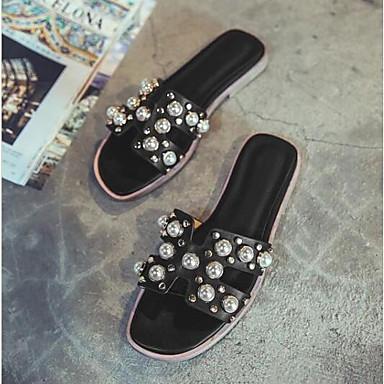 Naiset Kengät PU Kesä Comfort Sandaalit Käyttötarkoitus Kausaliteetti Valkoinen Musta