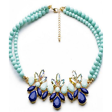 Women's Statement Necklaces Synthetic Sapphire Flower Leaf Alloy Personalized Fashion Adjustable Cute Style Jewelry For Party Other Gift