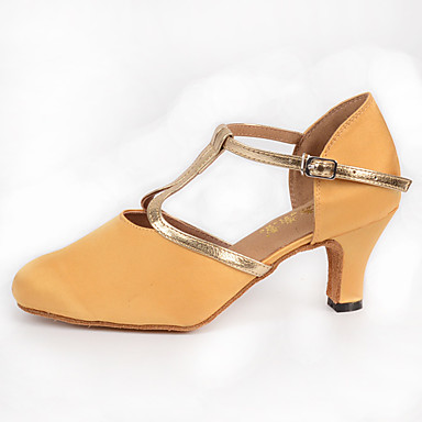 Women's Modern Silk Heel Indoor Buckle Yellow 2