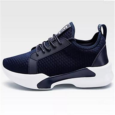 Homens sapatos Tule Primavera Outono Conforto Tênis Caminhada Cadarço para Casual Preto Azul Marinho Cinzento