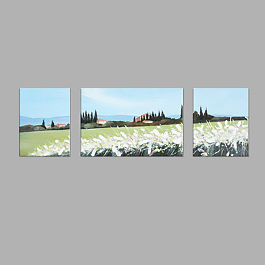 Pintura a Óleo Pintados à mão - Abstrato Abstracto Tela de pintura 3 Painéis