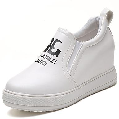 Mulheres Sapatos Couro Ecológico Primavera Verão Conforto Tênis Salto Baixo para Casual Branco Preto
