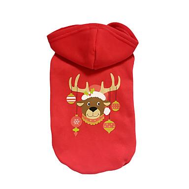 Hund Hettegensere Hundeklær Reinsdyr Rød Bomull Kostume For kjæledyr Jul