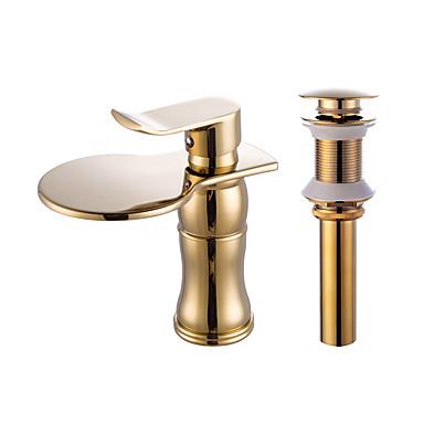Faucet Set - Cascata Dourado Conjunto Central Uma Abertura
