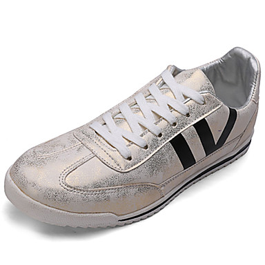 Men's Shoes Cowhide Spring Fall Comfort Athletic Shoes Walking Shoes Lace-up For Casual Gold Silver