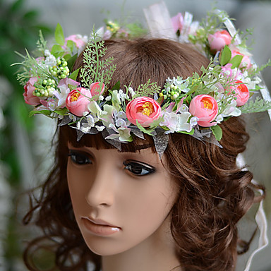 Gemstone & Crystal Tulle Cotton Headbands Flowers Headpiece with Crystal Feather 1 Wedding Special Occasion Event / Party Party / Evening